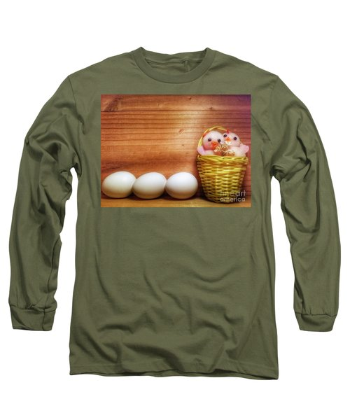 Easter Basket Of Pink Chicks With Eggs Long Sleeve T-Shirt