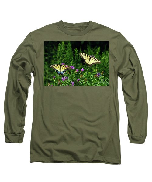 Long Sleeve T-Shirt featuring the photograph Eastern Tiger Swallowtail Butterfly - Female And Male  by Kerri Farley