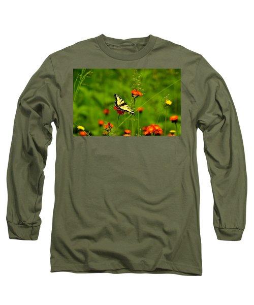 Eastern Tiger Swallowtail  Long Sleeve T-Shirt by Debbie Oppermann