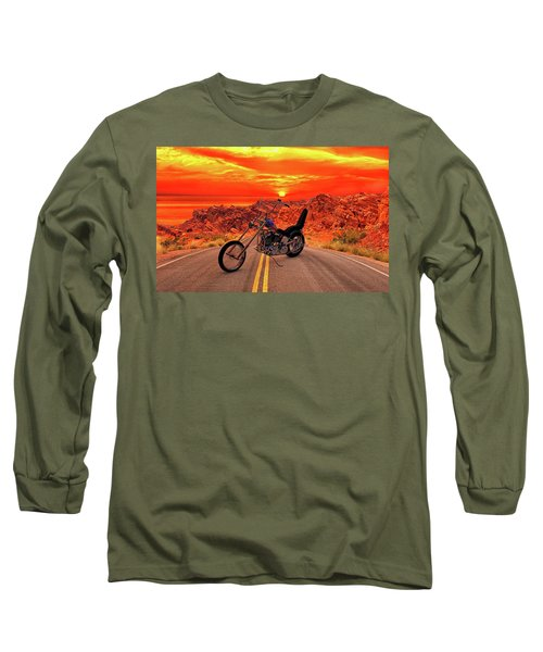 Long Sleeve T-Shirt featuring the photograph Easy Rider Chopper by Louis Ferreira