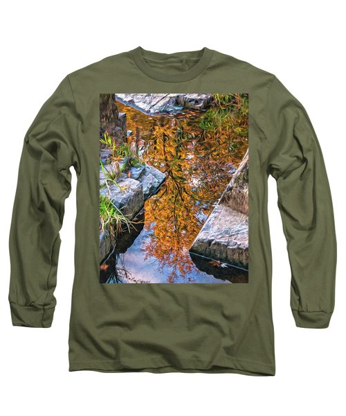 Long Sleeve T-Shirt featuring the photograph Eau Claire Dells Fall Reflection by Trey Foerster