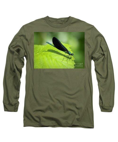 Long Sleeve T-Shirt featuring the photograph Ebony Jewelwing by Ricky L Jones