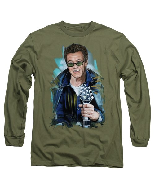 Eddie Van Halen Long Sleeve T-Shirt by Melanie D
