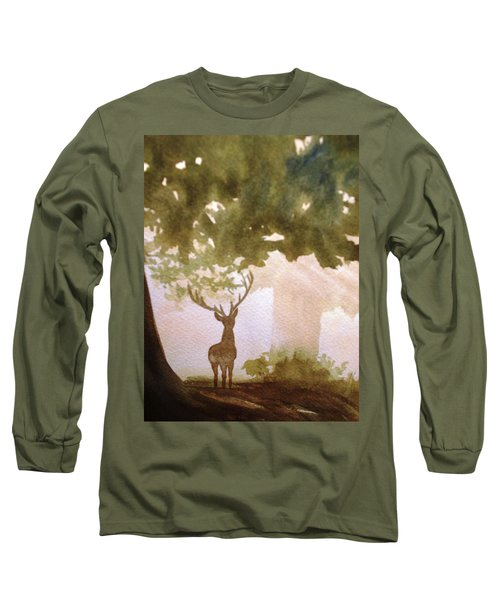Long Sleeve T-Shirt featuring the painting Edge Of The Forrest by Marilyn Jacobson