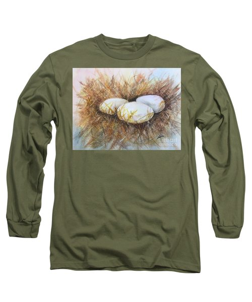 Long Sleeve T-Shirt featuring the painting Eggs On Straw by Lucia Grilletto