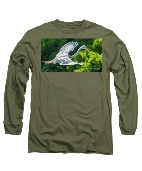 Egret Flying With Twigs Long Sleeve T-Shirt