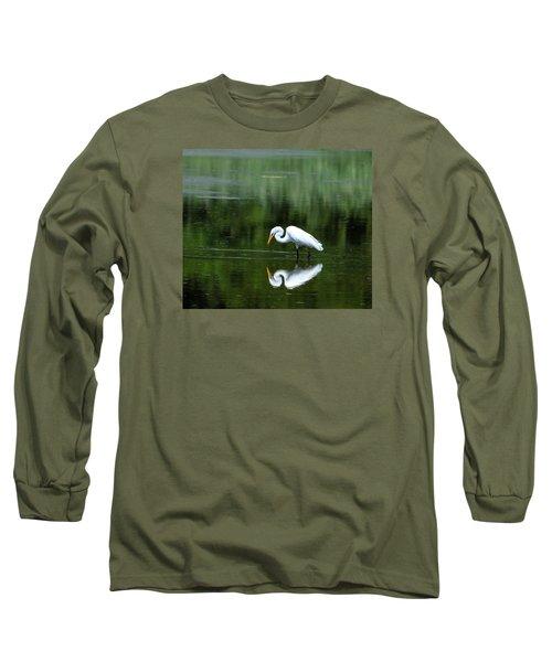Egret Reflection Long Sleeve T-Shirt by Kathy Eickenberg