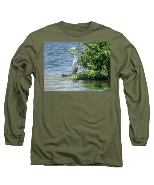 Great Egret In The Marsh Long Sleeve T-Shirt