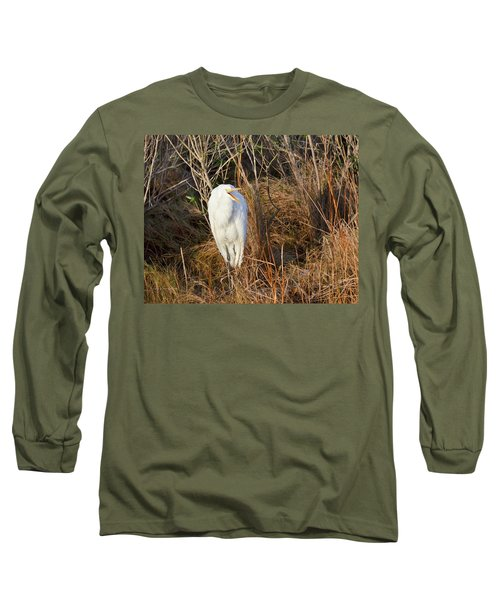 Egret With Something To Say Long Sleeve T-Shirt by George Randy Bass