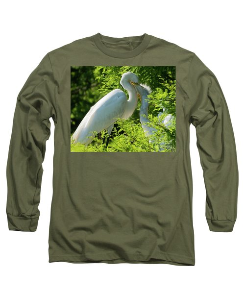 Egrets At Feeding Time Long Sleeve T-Shirt