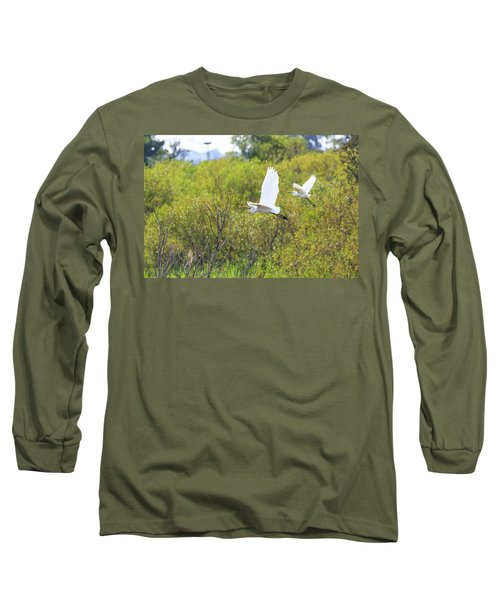Long Sleeve T-Shirt featuring the photograph Egrets In Flight by Jennifer Casey