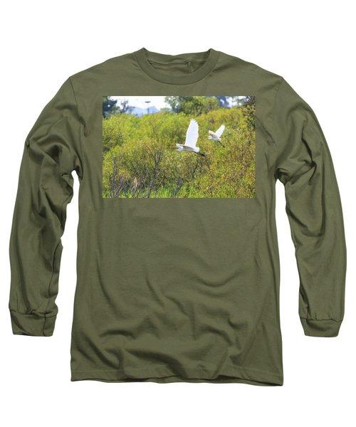 Egrets In Flight Long Sleeve T-Shirt by Jennifer Casey
