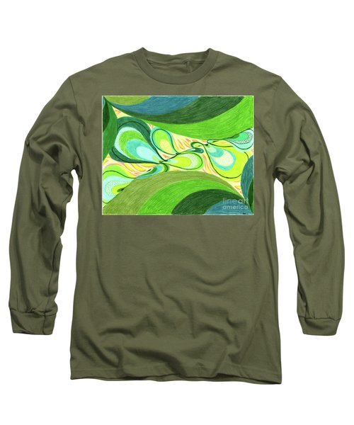 Long Sleeve T-Shirt featuring the drawing Elements by Kim Sy Ok