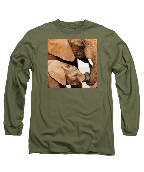 Elephant Calf And Mother Close Together Long Sleeve T-Shirt