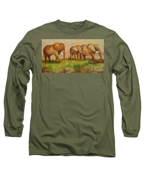 Long Sleeve T-Shirt featuring the painting Elephant Parade by Vicki  Housel