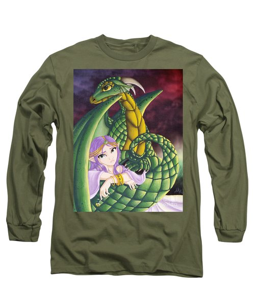 Long Sleeve T-Shirt featuring the painting Elf Girl And Dragon by Mary Hoy