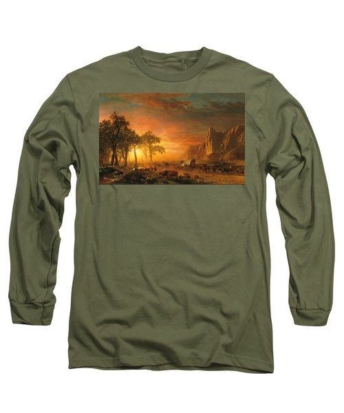 Long Sleeve T-Shirt featuring the photograph Emigrants Crossing The Plains - 1867 by Albert Bierstadt