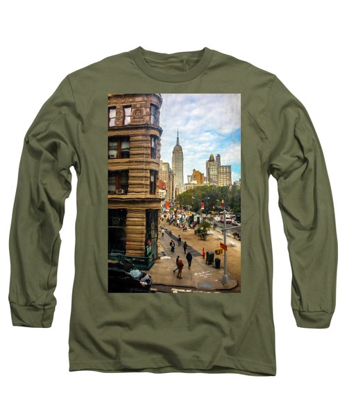 Long Sleeve T-Shirt featuring the photograph Empire State Building - Crackled View 3 by Madeline Ellis