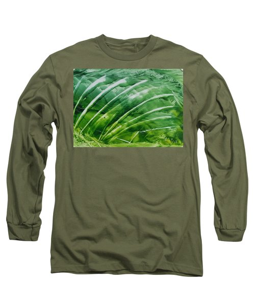 Encaustic Abstract Green Fan Foliage Long Sleeve T-Shirt
