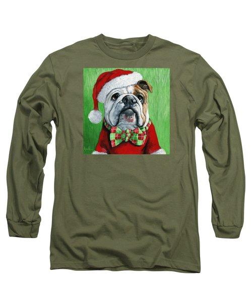 Holiday Cheer -english Bulldog Santa Dog Painting Long Sleeve T-Shirt by Linda Apple