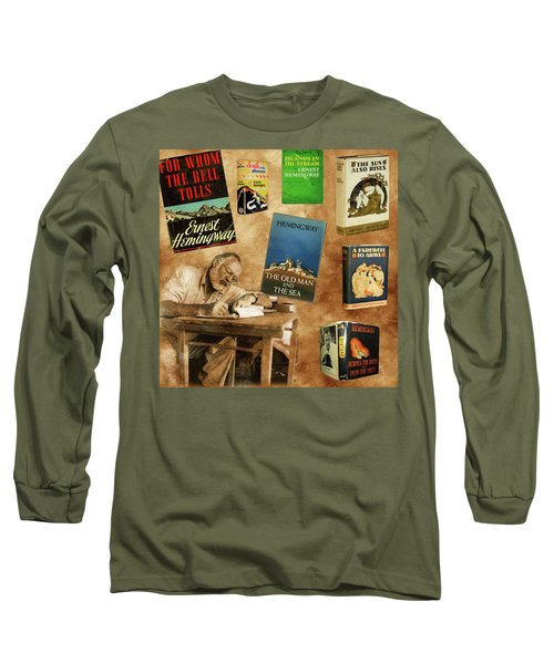 Ernest Hemingway Books 2 Long Sleeve T-Shirt by Andrew Fare