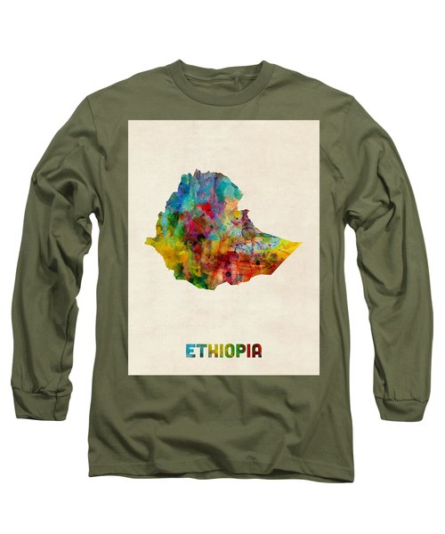 Long Sleeve T-Shirt featuring the digital art Ethiopia Watercolor Map by Michael Tompsett