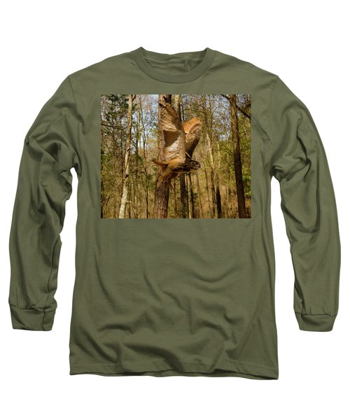 Eurasian Eagle Owl In Flight Long Sleeve T-Shirt