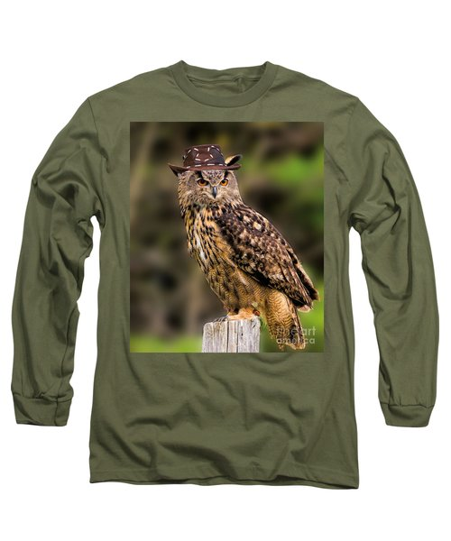 Eurasian Eagle Owl With A Cowboy Hat Long Sleeve T-Shirt