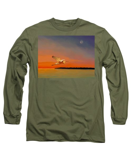 Long Sleeve T-Shirt featuring the painting Evening Flight by David  Van Hulst