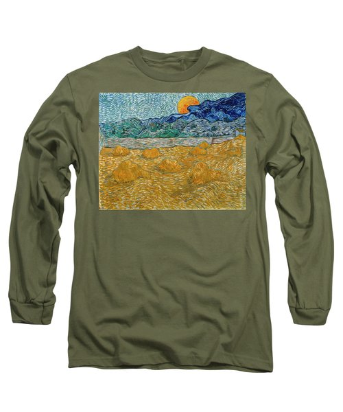 Long Sleeve T-Shirt featuring the painting Evening Landscape With Rising Moon by Van Gogh