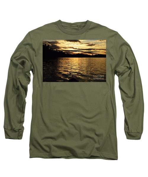 Long Sleeve T-Shirt featuring the photograph Evening Paddle On Amoeber Lake by Larry Ricker