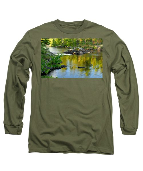 Evening Reflections At Lower Basswood Falls Long Sleeve T-Shirt by Larry Ricker