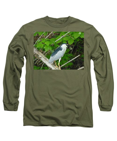 Evening Snack For A Night Heron Long Sleeve T-Shirt by Donald C Morgan