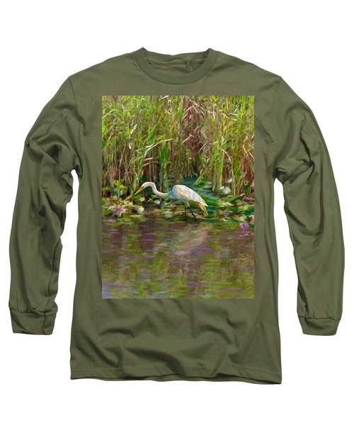 Long Sleeve T-Shirt featuring the painting Everglades Hunter by David  Van Hulst