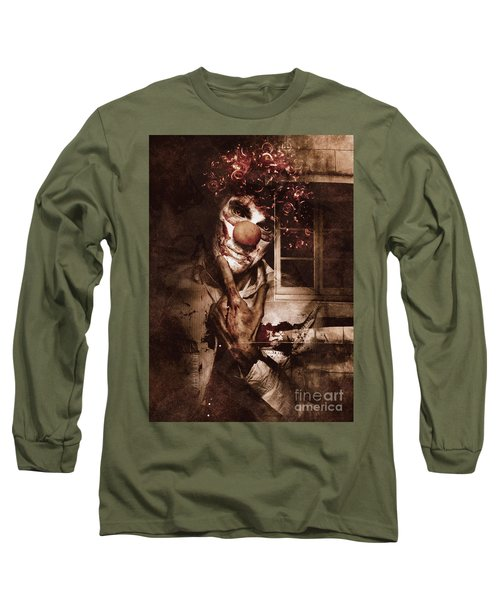 Evil Clown Musing With Scary Expression Long Sleeve T-Shirt