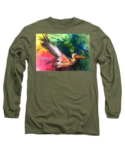 Long Sleeve T-Shirt featuring the painting Exhilarated - Original Sold by Therese Alcorn