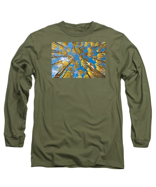 Fall Colored Aspens In The Inner Basin Long Sleeve T-Shirt by Jeff Goulden