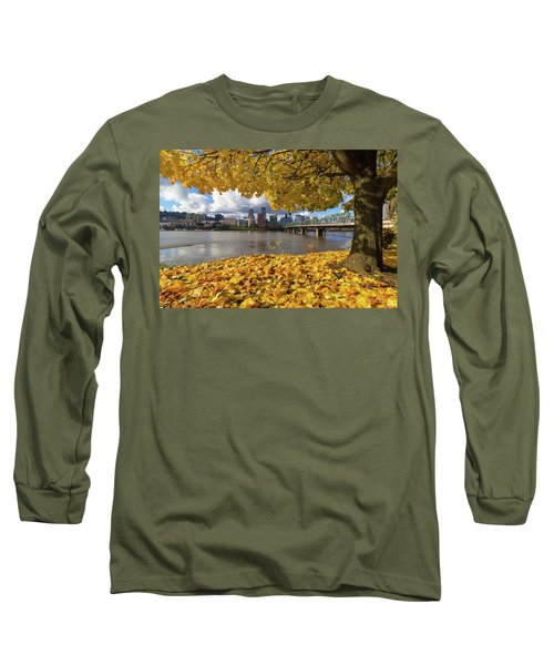 Fall Foliage With Portland Oregon City Long Sleeve T-Shirt