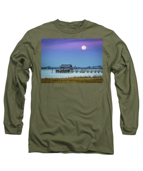 Fall Moon And King Tide - Charleston Sc Long Sleeve T-Shirt