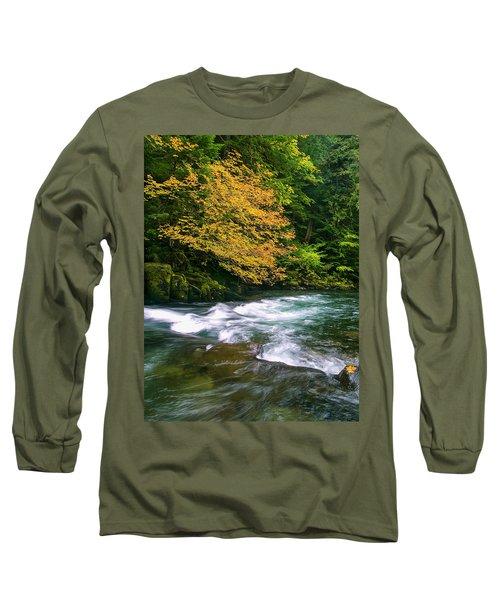 Fall On The Clackamas River, Or Long Sleeve T-Shirt