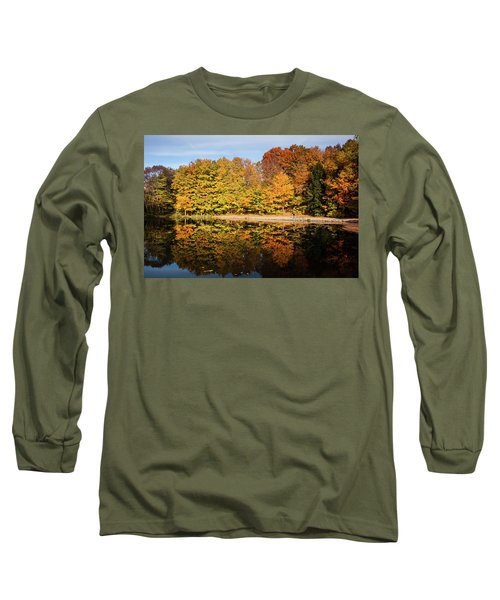 Fall Ontario Forest Reflecting In Pond  Long Sleeve T-Shirt