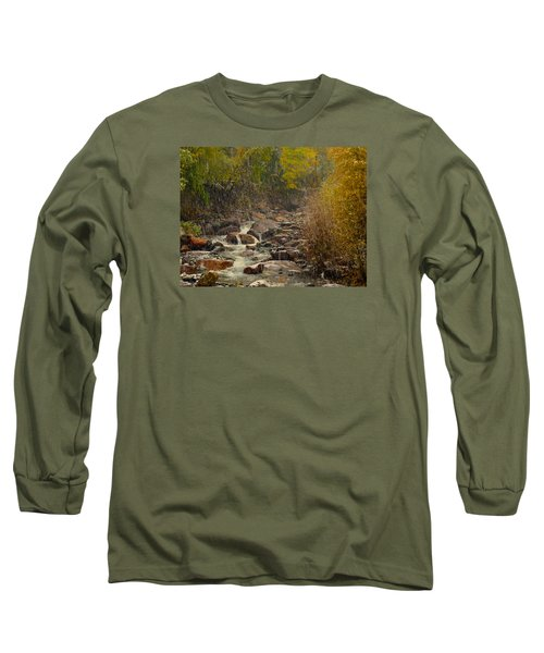 Long Sleeve T-Shirt featuring the photograph Fall Snow Storm by Laura Ragland