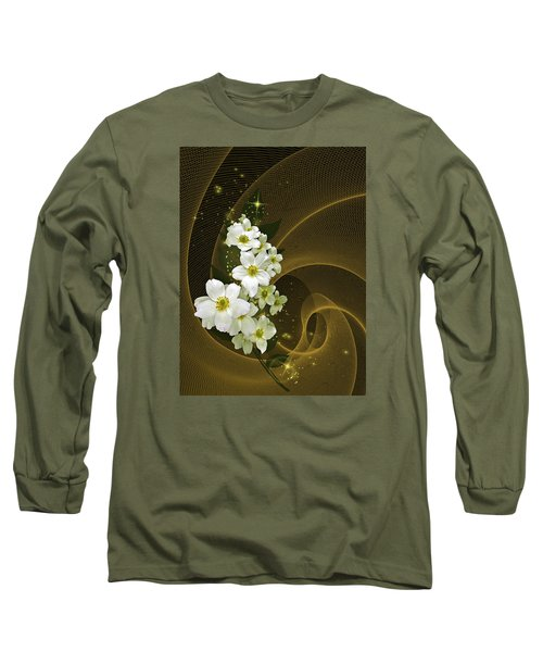 Fantasy In Gold And White Long Sleeve T-Shirt by Judy  Johnson