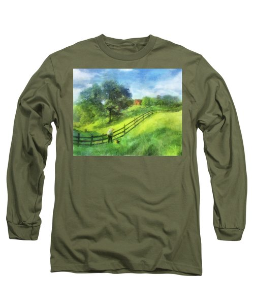 Farm On The Hill Long Sleeve T-Shirt by Francesa Miller