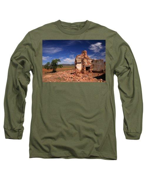 Farmhouse Cottage Ruin Flinders Ranges South Australia Long Sleeve T-Shirt by Ralph A  Ledergerber-Photography