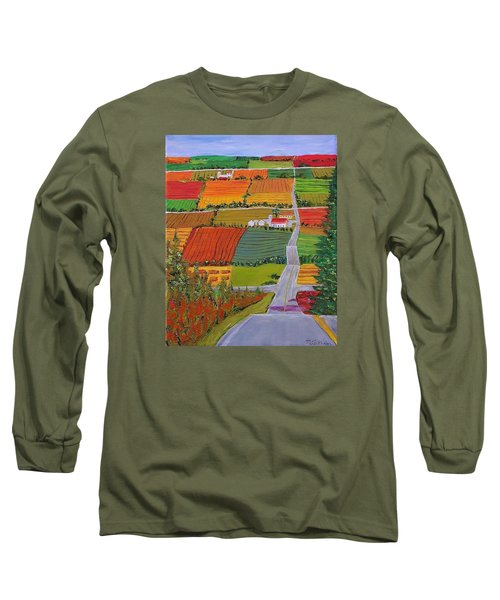 Country Farmland Quilt Long Sleeve T-Shirt by Mike Caitham