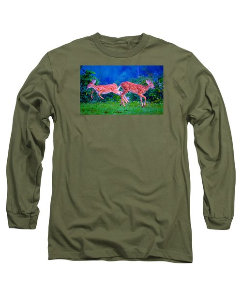 Long Sleeve T-Shirt featuring the photograph Fawn Frolic by Brian Stevens