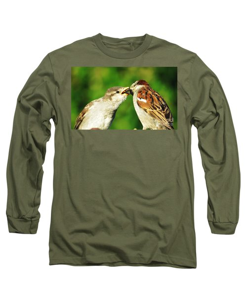 Feeding Baby Sparrow 3 Long Sleeve T-Shirt by Judy Via-Wolff