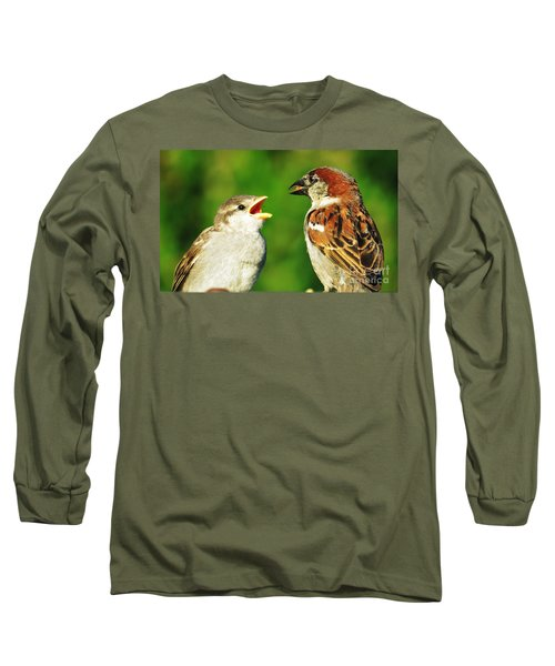Feeding Baby Sparrows 2 Long Sleeve T-Shirt by Judy Via-Wolff