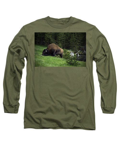 Long Sleeve T-Shirt featuring the photograph Feeding Buffalo by Jason Moynihan